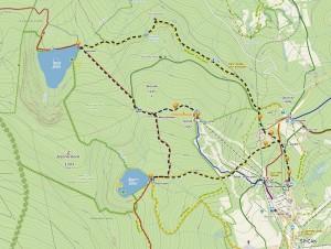 Čertovo jezero, Špičák, Černé jezero - mapa trasy